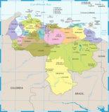Карта Венесуэлы - детальная иллюстрация вектора Стоковая Фотография RF