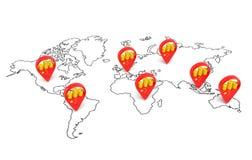 Карта вклада Китая Стоковые Изображения RF