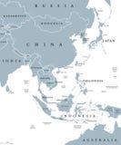 Карта Восточной Азии политическая бесплатная иллюстрация