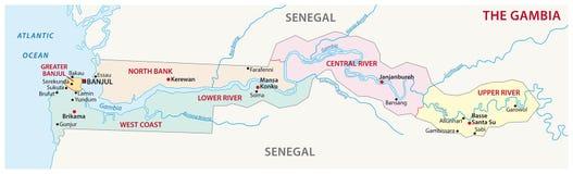 Карта Гамбии административная Стоковое Изображение RF