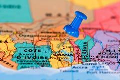 карта Ганы Стоковое Изображение
