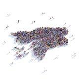 Карта Гвинея-Бисау формы группы людей Стоковое фото RF