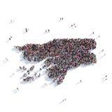 Карта Гвинея-Бисау формы группы людей Стоковое Изображение RF