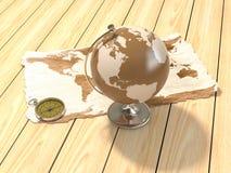 карта глобуса компаса Стоковое Изображение