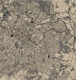 Карта города Бирмингема, Вулверхэмптона, английских Midlands, Великобритании, Англии иллюстрация штока