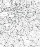 Карта города вектора Лондона в черно-белом Стоковые Изображения