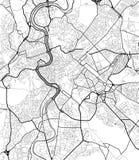 Карта города вектора Рима в черно-белом Стоковые Фото