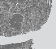 Карта города Лиссабона, Португалии стоковое изображение