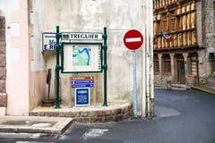 Карта города около дома ` s Эрнеста Renan в Treguier Стоковая Фотография