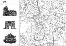 Карта города Рима с нарисованными вручную значками архитектуры иллюстрация штока