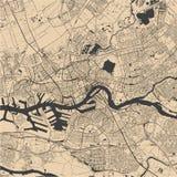 Карта города Роттердама, в южной Голландии, Нидерланды Стоковые Изображения RF
