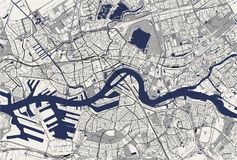 Карта города Роттердама, в южной Голландии, Нидерланды Стоковое Изображение