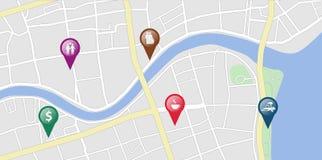 Карта города с некоторыми бирками положения Стоковые Фотографии RF