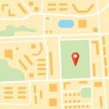 Карта города с штырем красного цвета навигации схема Стоковое Изображение