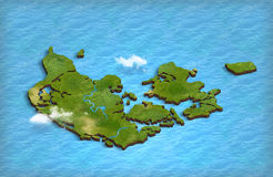 Карта Дании в 3d в океане Стоковая Фотография RF
