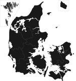 Карта Дании Стоковое Изображение RF