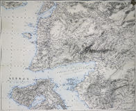 Карта Дарданеллов, Троя и Лесбоса Стоковая Фотография RF