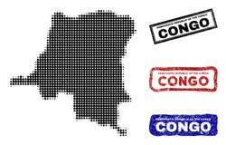 Карта Демократической Республики Конго в стиле точки полутонового изображения с печатями титра Grunge иллюстрация вектора