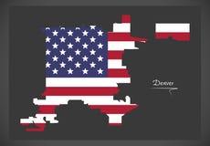 Карта Денвера Колорадо с американской иллюстрацией национального флага Стоковые Фотографии RF
