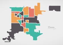 Карта Денвера Колорадо с районами и современными округлыми формами Стоковая Фотография RF