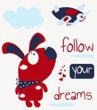 """Карта детей с милым щенком и надпись """"следовать вашими мечтами r иллюстрация штока"""