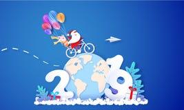 Карта дизайна продажи 2019 Новых Годов с Санта Клаусом иллюстрация штока