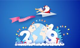 Карта дизайна продажи 2019 Новых Годов с Санта Клаусом иллюстрация вектора