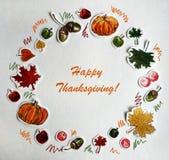 Карта дня благодарения акварели счастливая стоковая фотография rf