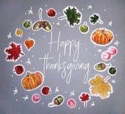 Карта дня благодарения акварели счастливая стоковое изображение