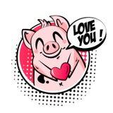 Карта дня Валентайн с милым облаком свиньи, сердца и текста Приветствовать плакат в стиле комиксов вектор иллюстрация штока