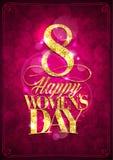 Карта дня счастливых женщин, поздравительная открытка 8-ое марта иллюстрация штока