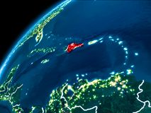 Карта Доминиканской Республики на ноче Стоковое Изображение RF