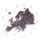 Карта Европа формы группы людей Стоковая Фотография