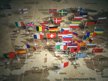 Карта Европейского союза с флагами стран европа иллюстрация вектора
