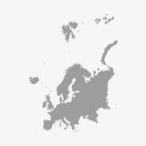 Карта Европы в сером цвете на белой предпосылке иллюстрация вектора