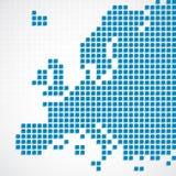 Карта Европы континента поставленная точки синью Стоковые Фото