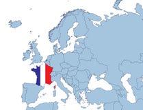 карта европы Франции Стоковое Изображение RF