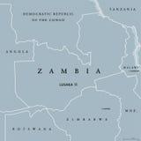 Карта Замбии политическая иллюстрация штока