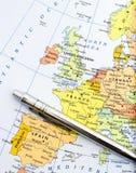 Карта Западной Европы Стоковое Изображение RF