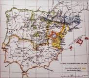 Карта иберийского полуострова 1099 Menendez Pidal Королевства и Almoravids Taifas стоковая фотография rf