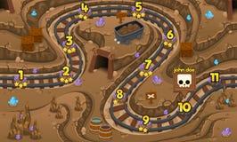 Карта игры пещеры добычи золота ровная иллюстрация штока