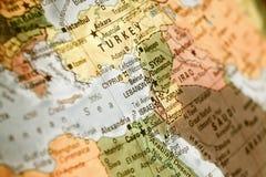 Карта Израиля, Турции, Джордана, Ливана Стоковые Изображения RF