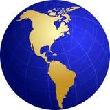 карта иллюстрации глобуса Америк Стоковое Фото