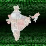карта Индии бинарного Кода Стоковое Изображение