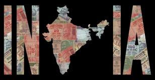карта Индии наличных дег Стоковые Фотографии RF