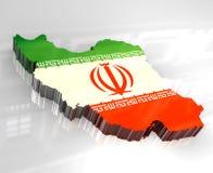карта Ирана флага 3d Стоковое Изображение