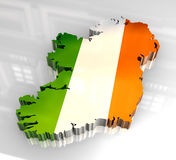 карта Ирландии флага 3d Стоковые Изображения