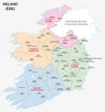 Карта Ирландии административная Стоковые Изображения RF