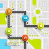 Карта искусства данным по пункта дороги Стоковая Фотография