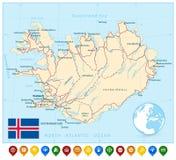 Карта Исландии и красочные указатели карты Стоковое Фото